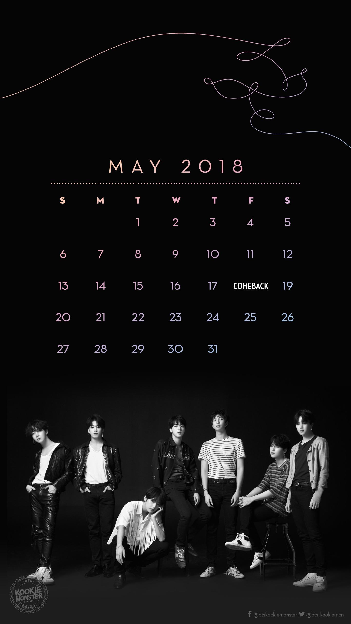 05 Calendar Wallpaper 2018 Bts Kookie Monster
